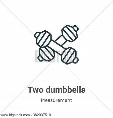 Two dumbbells icon isolated on white background from measurement collection. Two dumbbells icon tren