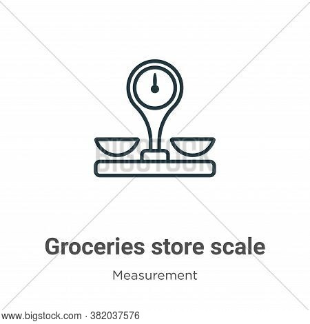 Groceries store scale icon isolated on white background from measurement collection. Groceries store