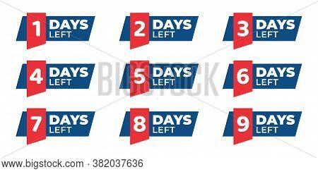 Number 1,2,3,4,5,6,7,8,9 Of Days Left. Collection Badges Sale, Landing Page, Banner.vector Illustrat