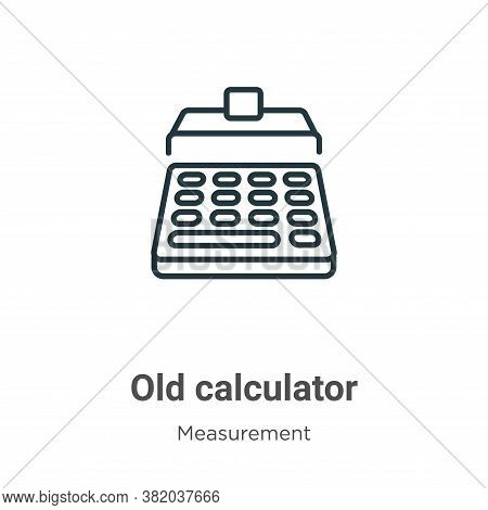 Old calculator icon isolated on white background from measurement collection. Old calculator icon tr