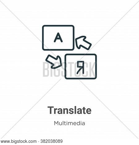 Translate icon isolated on white background from multimedia collection. Translate icon trendy and mo
