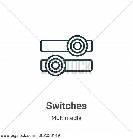 Switches icon isolated on white background from multimedia collection. Switches icon trendy and mode