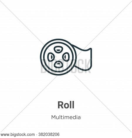 Roll icon isolated on white background from multimedia collection. Roll icon trendy and modern Roll