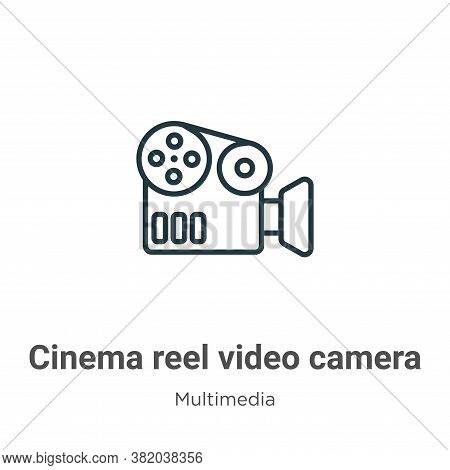 Cinema reel video camera icon isolated on white background from multimedia collection. Cinema reel v