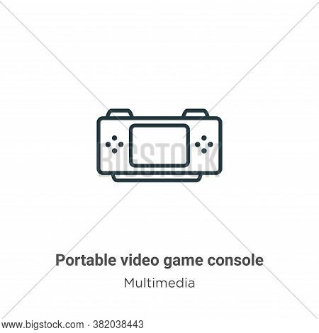 Portable video game console icon isolated on white background from multimedia collection. Portable v