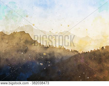 Digital Watercolor Painting Of Mountain In The Morning, Fall Season Landscape Image