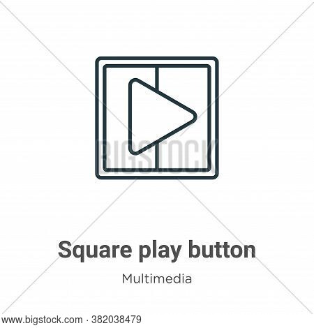 Square play button icon isolated on white background from multimedia collection. Square play button
