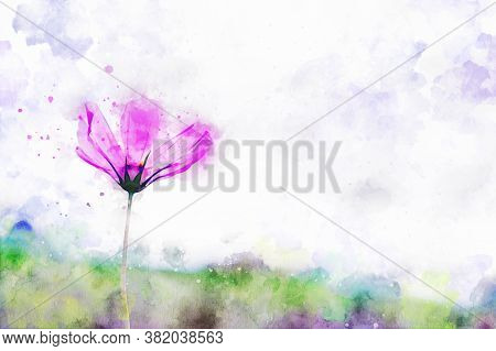 Pink Cosmos Flower With Green Hill Background, Digital Watercolor Painting