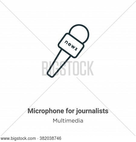 Microphone For Journalists Icon From Multimedia Collection Isolated On White Background.