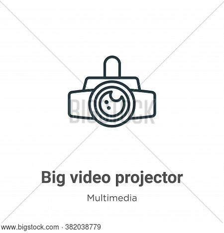 Big video projector icon isolated on white background from multimedia collection. Big video projecto