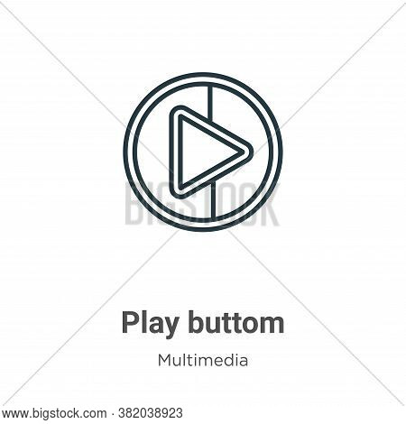Play buttom icon isolated on white background from multimedia collection. Play buttom icon trendy an