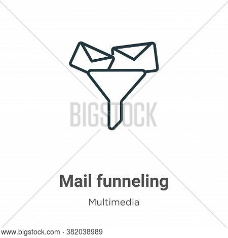 Mail funneling icon isolated on white background from multimedia collection. Mail funneling icon tre