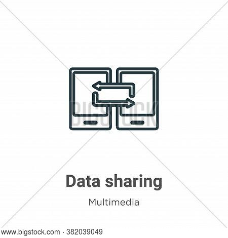 Data sharing icon isolated on white background from multimedia collection. Data sharing icon trendy