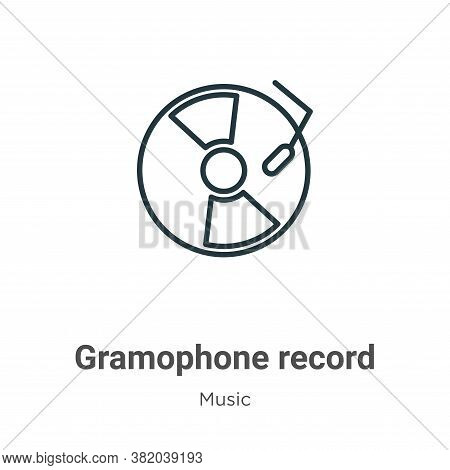 Gramophone record icon isolated on white background from music collection. Gramophone record icon tr