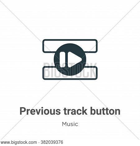 Previous track button icon isolated on white background from music collection. Previous track button
