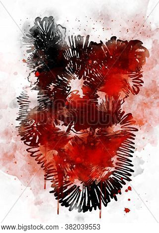 Abstract Digital Art Of Heart With Red Watercolor Texture