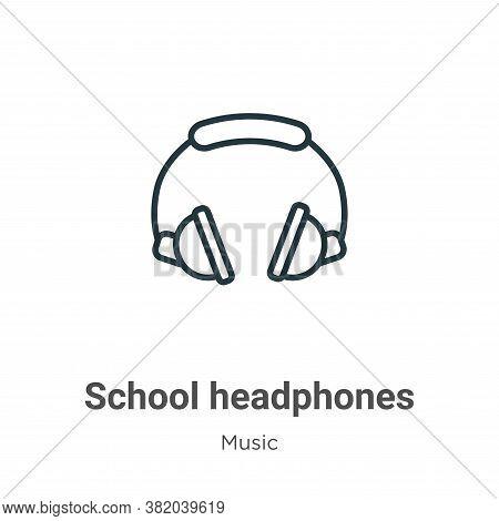 School headphones icon isolated on white background from music collection. School headphones icon tr