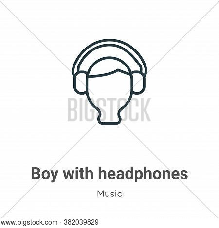 Boy with headphones icon isolated on white background from music collection. Boy with headphones ico