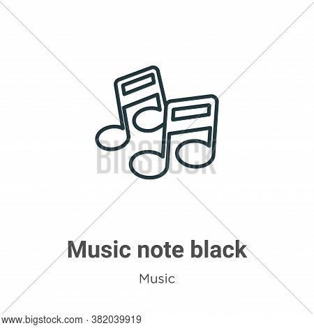Music note black icon isolated on white background from music collection. Music note black icon tren