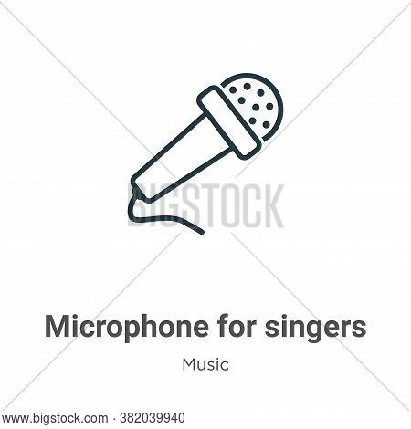 Microphone for singers icon isolated on white background from music collection. Microphone for singe