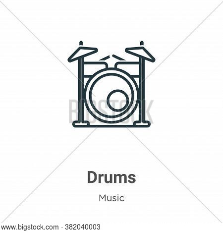 Drums icon isolated on white background from music collection. Drums icon trendy and modern Drums sy