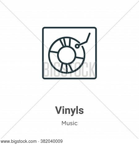 Vinyls icon isolated on white background from music collection. Vinyls icon trendy and modern Vinyls