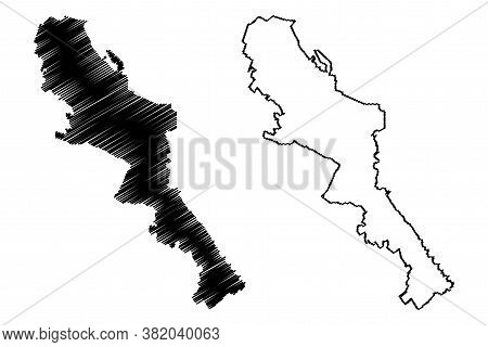 Monterrey City (united Mexican States, Mexico, Free And Sovereign State Of Nuevo Leon) Map Vector Il