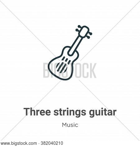 Three strings guitar icon isolated on white background from music collection. Three strings guitar i