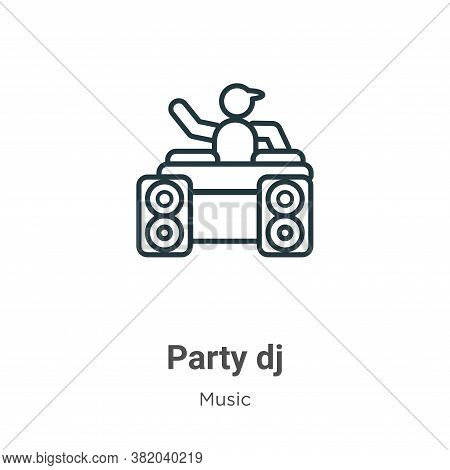 Party dj icon isolated on white background from music collection. Party dj icon trendy and modern Pa