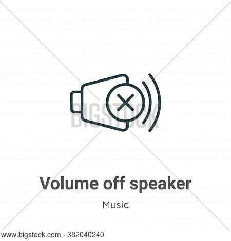 Volume off speaker icon isolated on white background from music and multimedia collection. Volume of