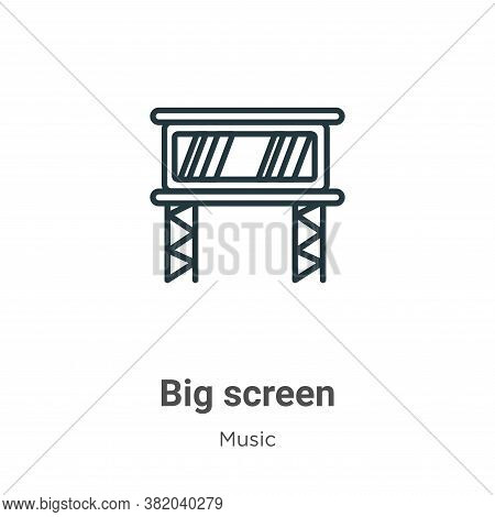 Big screen icon isolated on white background from music and multimedia collection. Big screen icon t