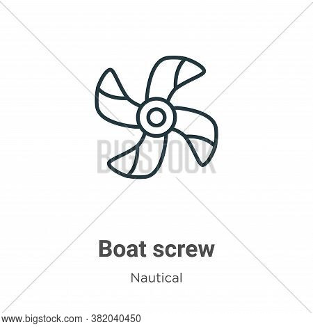 Boat screw icon isolated on white background from nautical collection. Boat screw icon trendy and mo