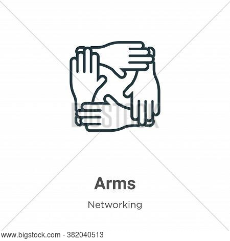 Arms icon isolated on white background from networking collection. Arms icon trendy and modern Arms