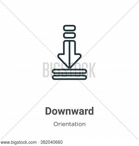 Downward icon isolated on white background from orientation collection. Downward icon trendy and mod