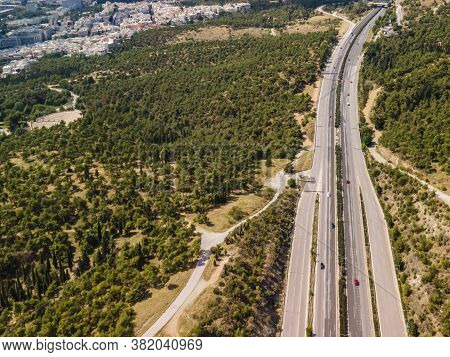 Thessaloniki, Greece Aerial Drone Landscape Of Traffic On Periferiaki Inner Ring Road. Day Top Panor