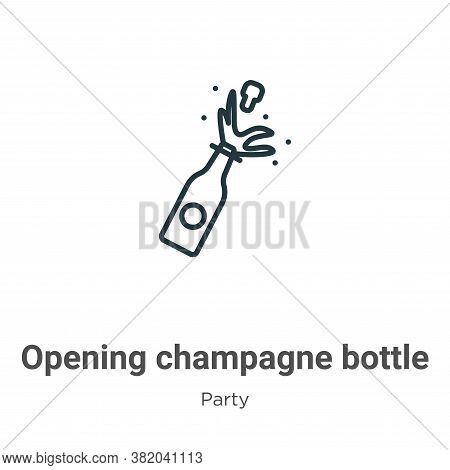 Opening champagne bottle icon isolated on white background from party collection. Opening champagne