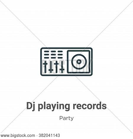 Dj playing records icon isolated on white background from party collection. Dj playing records icon