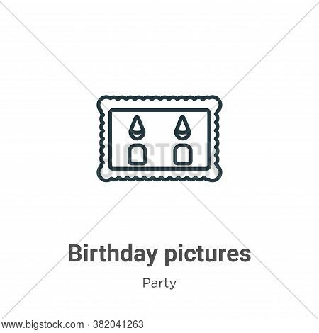 Birthday pictures icon isolated on white background from party collection. Birthday pictures icon tr