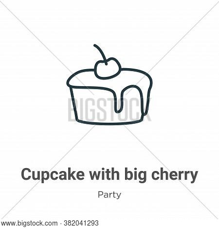 Cupcake with big cherry icon isolated on white background from party collection. Cupcake with big ch