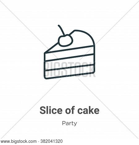 Slice of cake icon isolated on white background from party collection. Slice of cake icon trendy and
