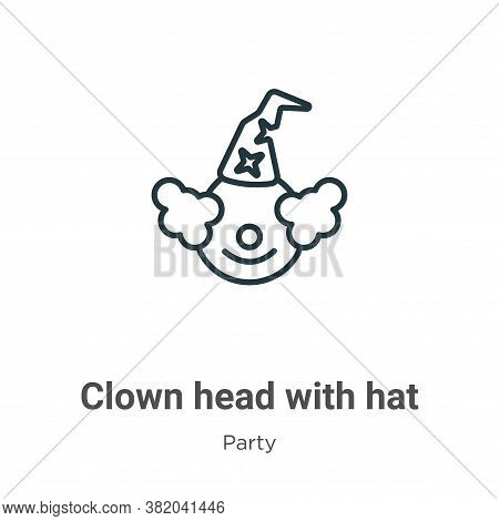 Clown head with hat icon isolated on white background from party collection. Clown head with hat ico