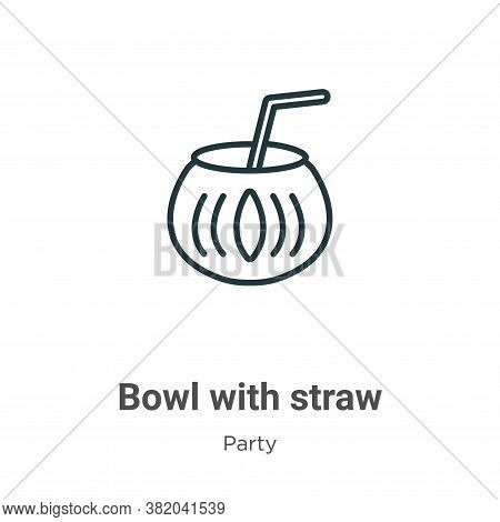 Bowl with straw icon isolated on white background from party collection. Bowl with straw icon trendy