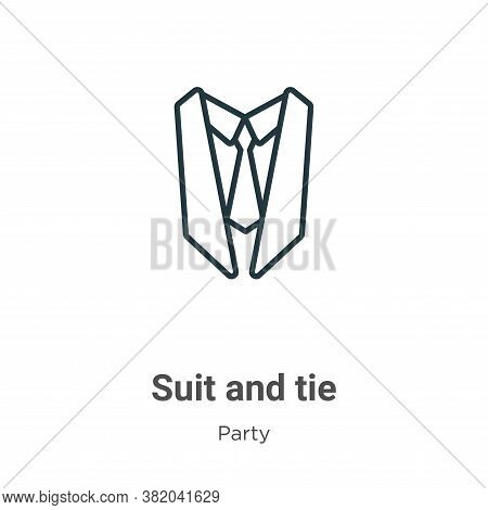 Suit and tie icon isolated on white background from party collection. Suit and tie icon trendy and m