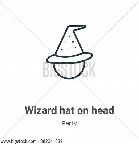 Wizard hat on head icon isolated on white background from party collection. Wizard hat on head icon