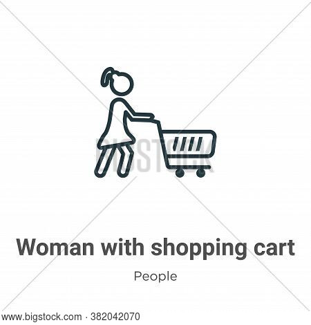 Woman with shopping cart icon isolated on white background from people collection. Woman with shoppi