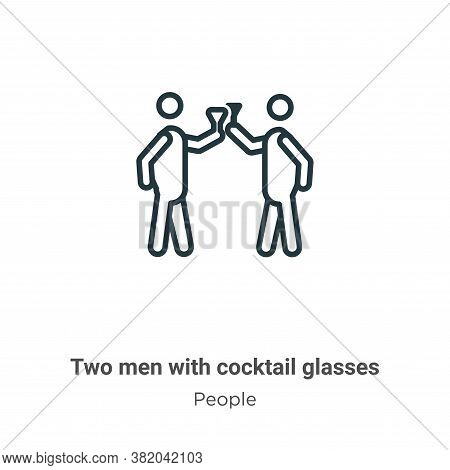 Two men with cocktail glasses icon isolated on white background from people collection. Two men with
