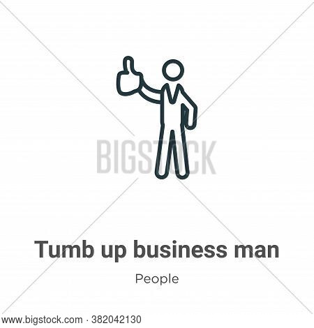 Tumb up business man icon isolated on white background from people collection. Tumb up business man