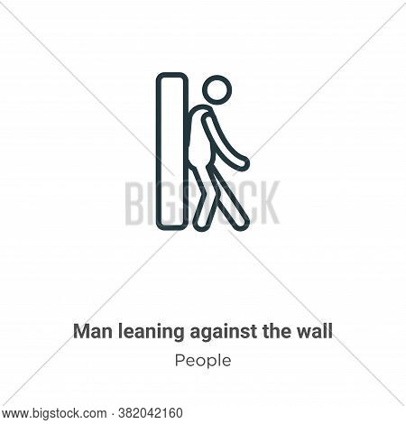 Man leaning against the wall icon isolated on white background from people collection. Man leaning a