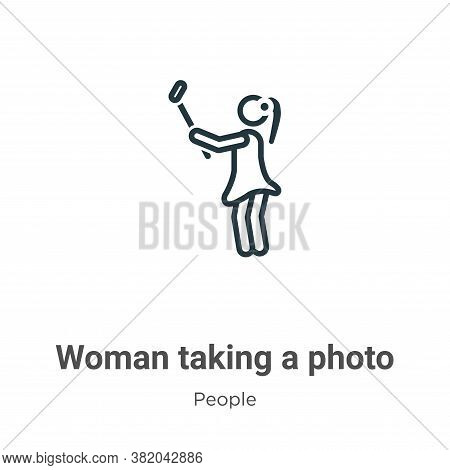 Woman taking a photo icon isolated on white background from people collection. Woman taking a photo