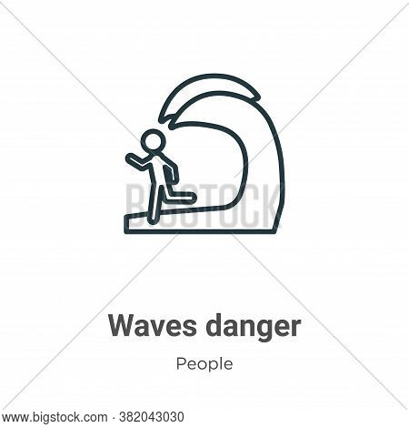 Waves danger icon isolated on white background from people collection. Waves danger icon trendy and